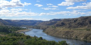 This is a photo of the Columbia river that I took on our way to the fireline. The Grand Coulee Dam is just around the bend.